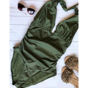 Olive Green Halter One Piece Swimsuit by Old Navy